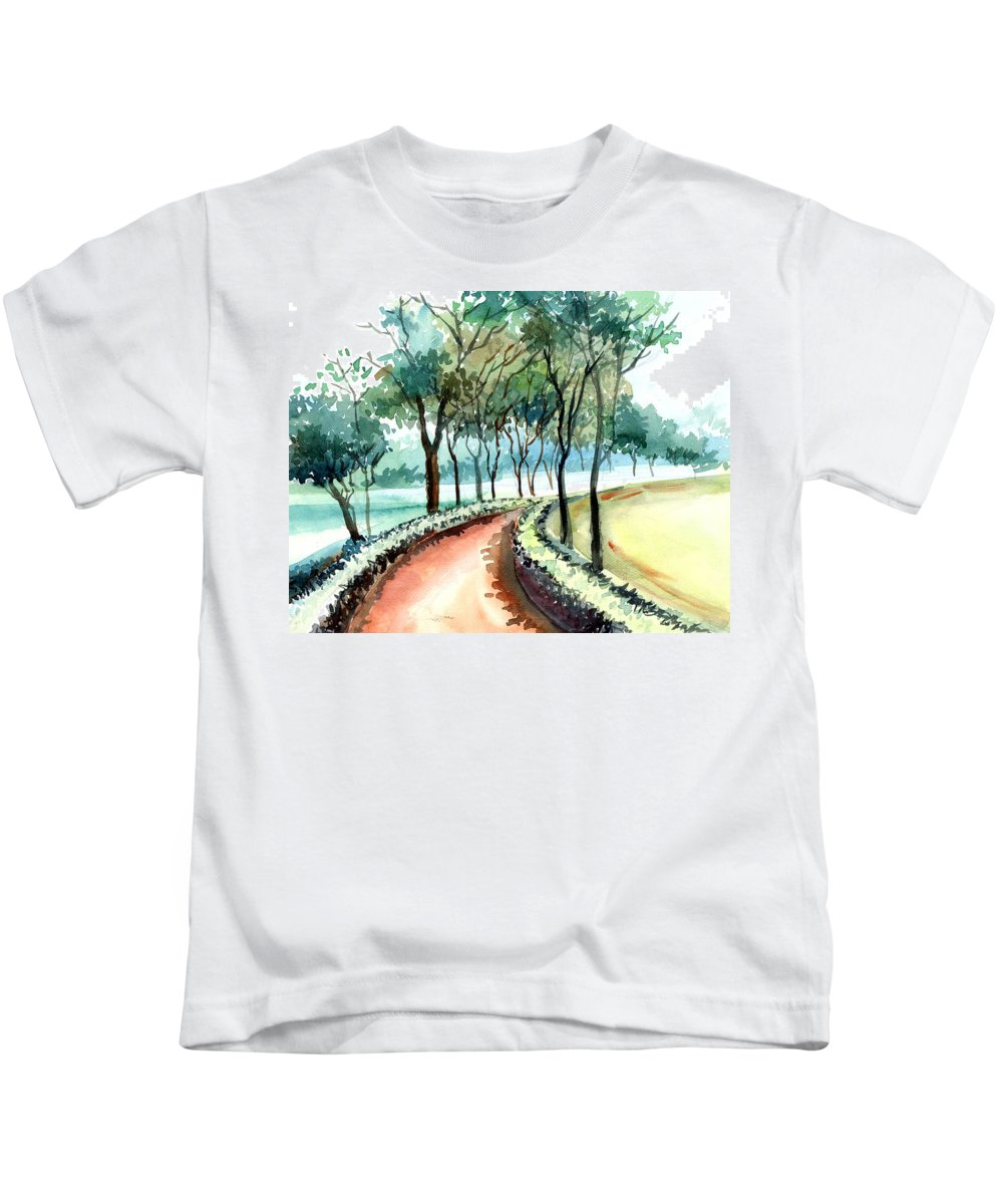 Landscape Kids T-Shirt featuring the painting Jogging Track by Anil Nene