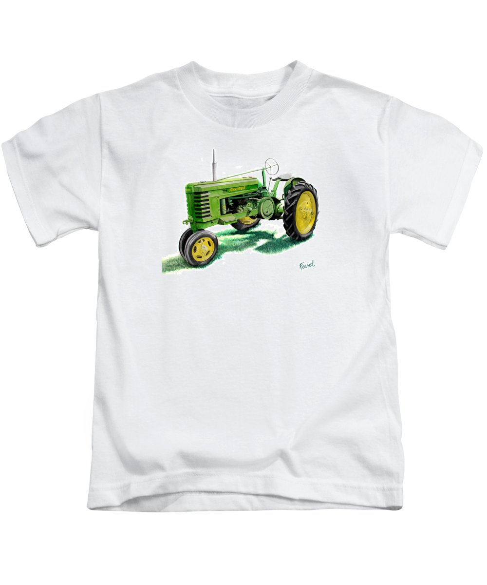 John Deere Tractor Kids T-Shirt featuring the painting John Deere Tractor by Ferrel Cordle