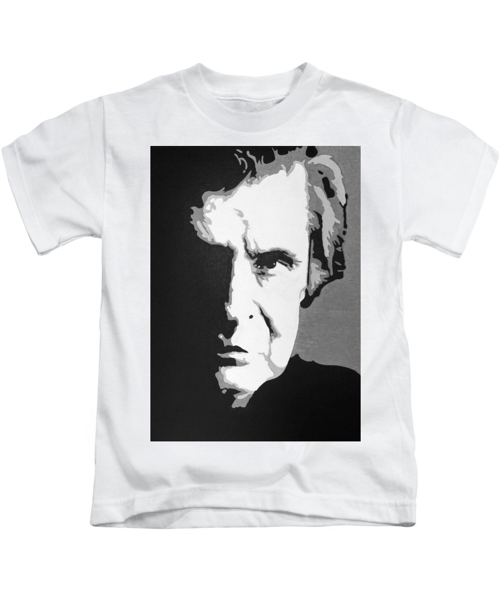 Abstract Johnny Cash Kids T-Shirt featuring the painting Johnny Cash by Alexius Brown