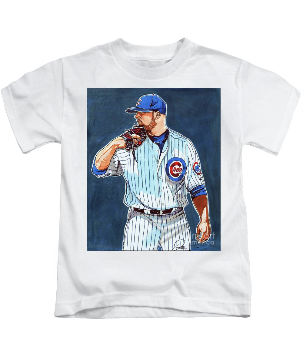 Chicago Cubs Kids T-Shirt featuring the drawing Jon Lester Chicago Cubs by Dave Olsen