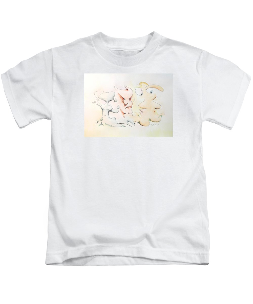 Watercolor Kids T-Shirt featuring the painting Judging Picasso by Dave Martsolf