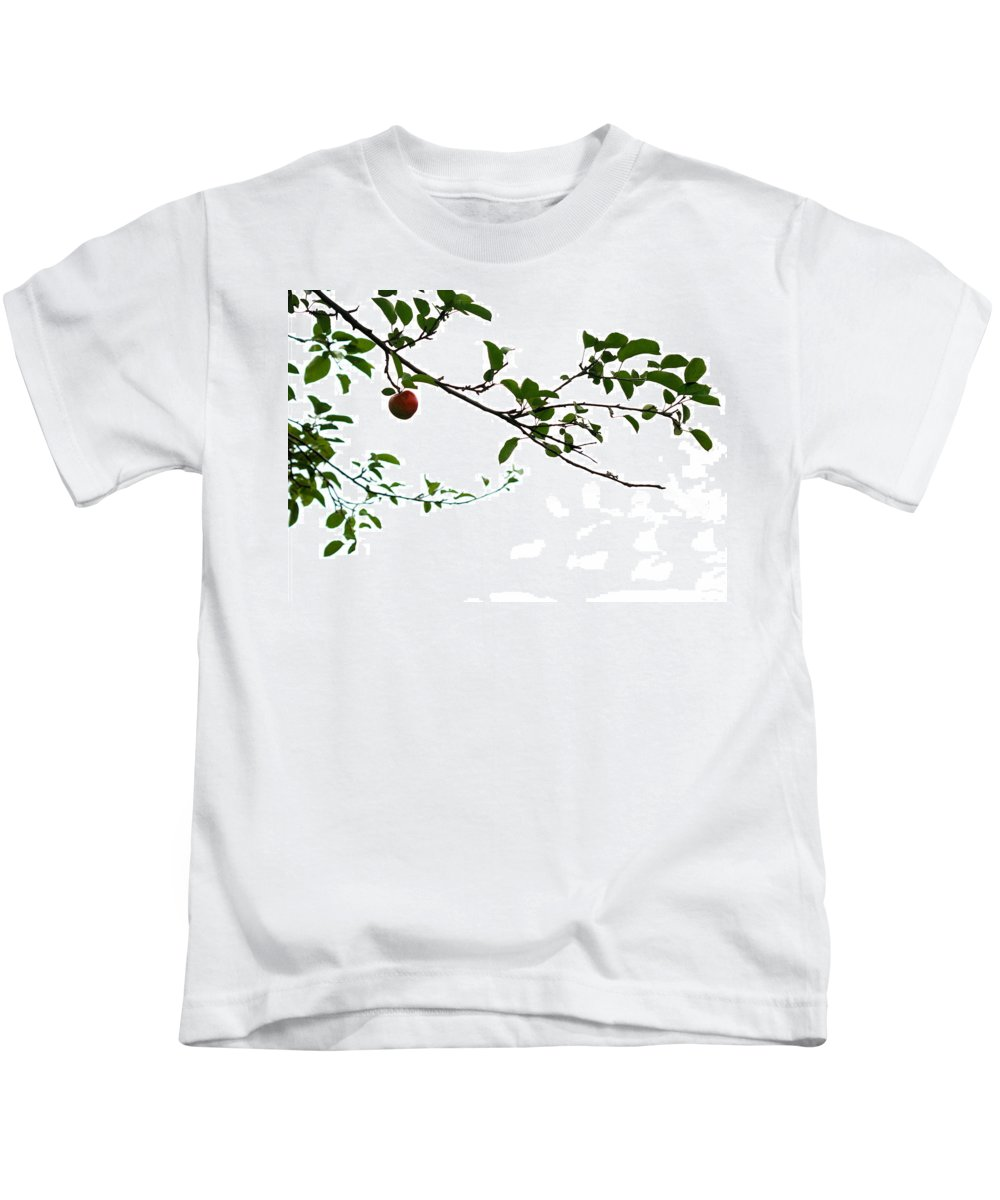 Adam And Eve Kids T-Shirt featuring the photograph Juicy  A Tempting Photograph Of A Tasty Ripe Red Apple On A Tree by Angela Rath