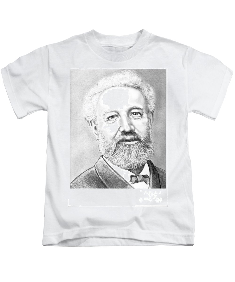 Jules Verne Kids T-Shirt featuring the drawing Jules Verne by Murphy Elliott
