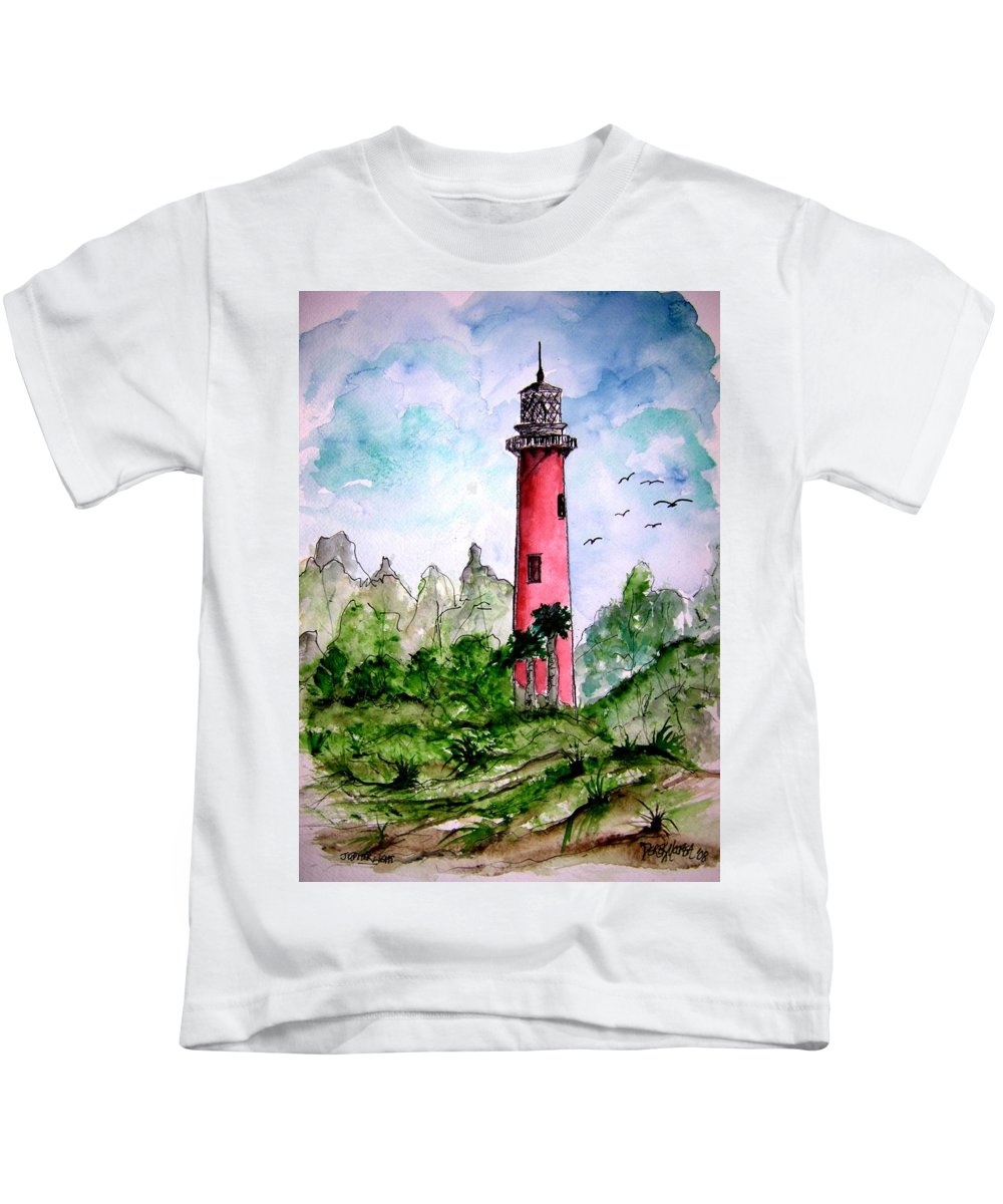 Lighthouse Kids T-Shirt featuring the painting Jupiter Florida Lighthouse by Derek Mccrea