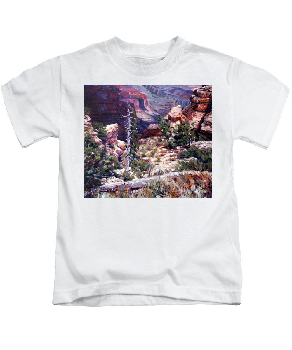 Grand Canyon Kids T-Shirt featuring the painting Kaibab Trail by Donald Maier