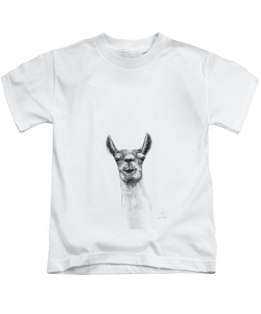 Llama Art Kids T-Shirt featuring the drawing Kain by K Llamas