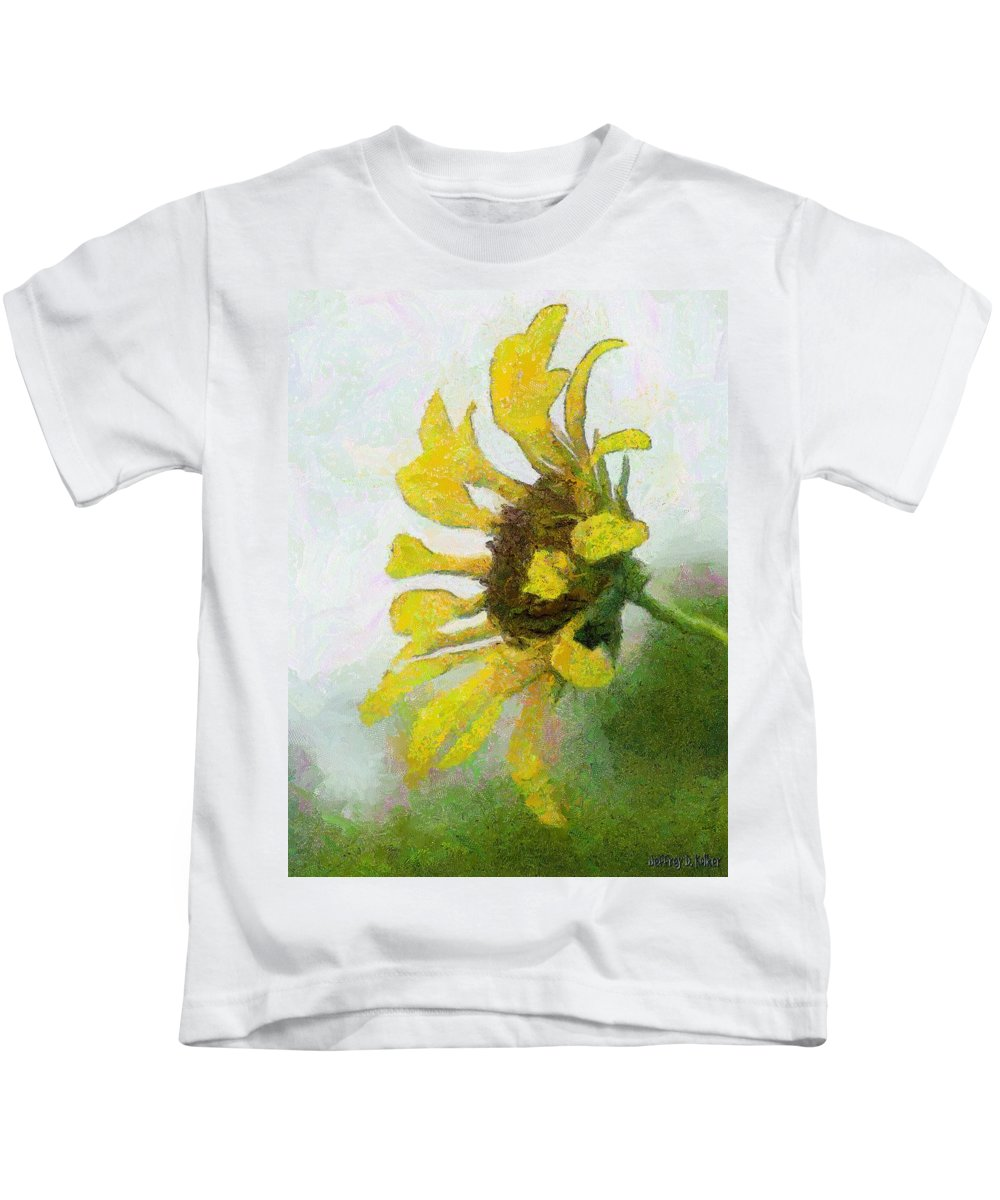 Sunflower Kids T-Shirt featuring the painting Kate's Sunflower by Jeffrey Kolker
