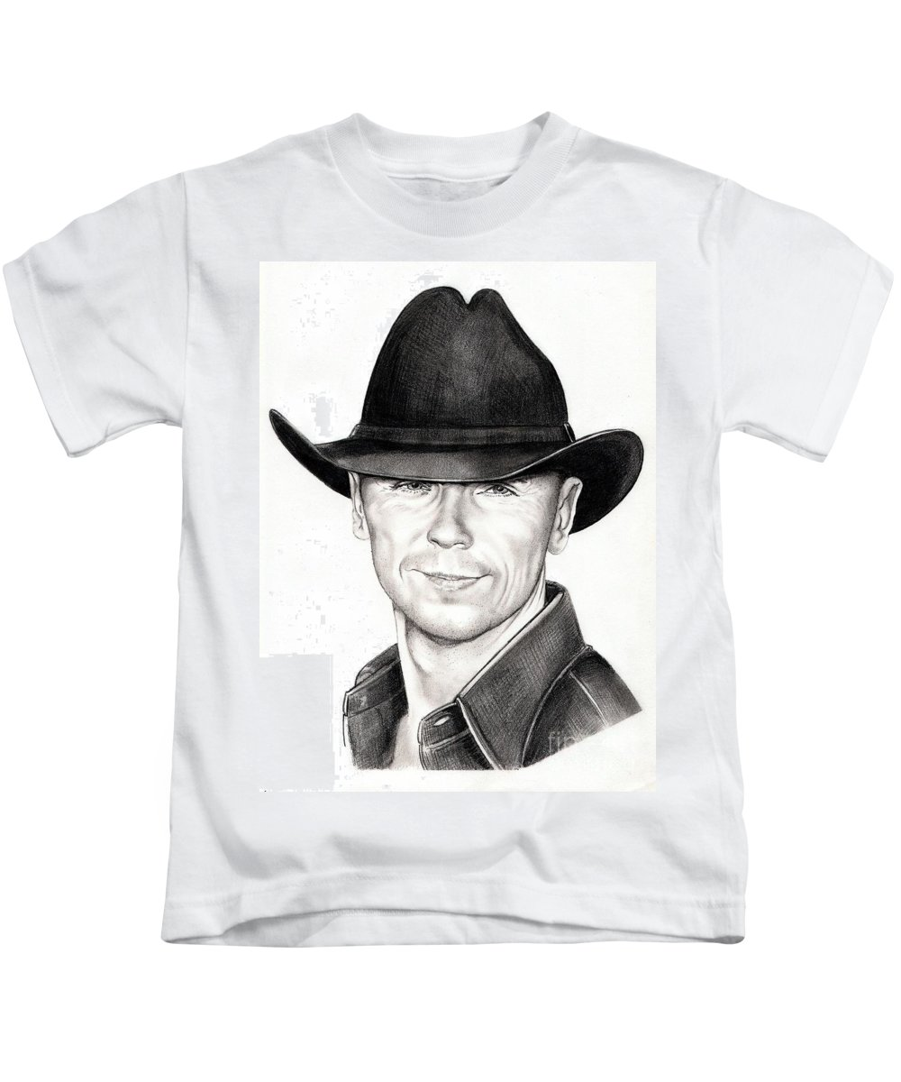 Portrait Kids T-Shirt featuring the drawing Kenny Chesney by Murphy Elliott