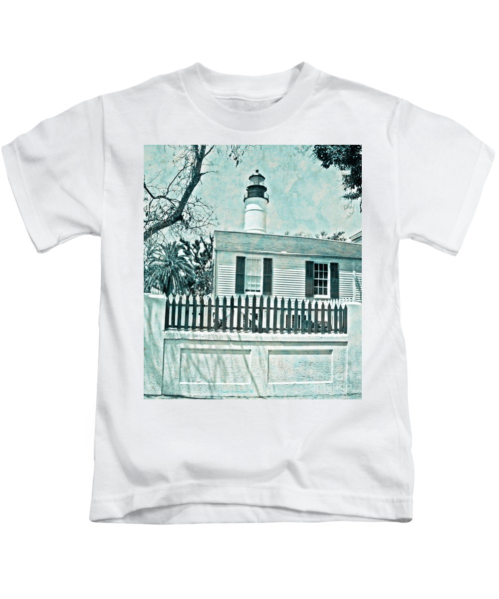 Lighthouse Kids T-Shirt featuring the photograph Key West Lighthouse Impression by John Stephens