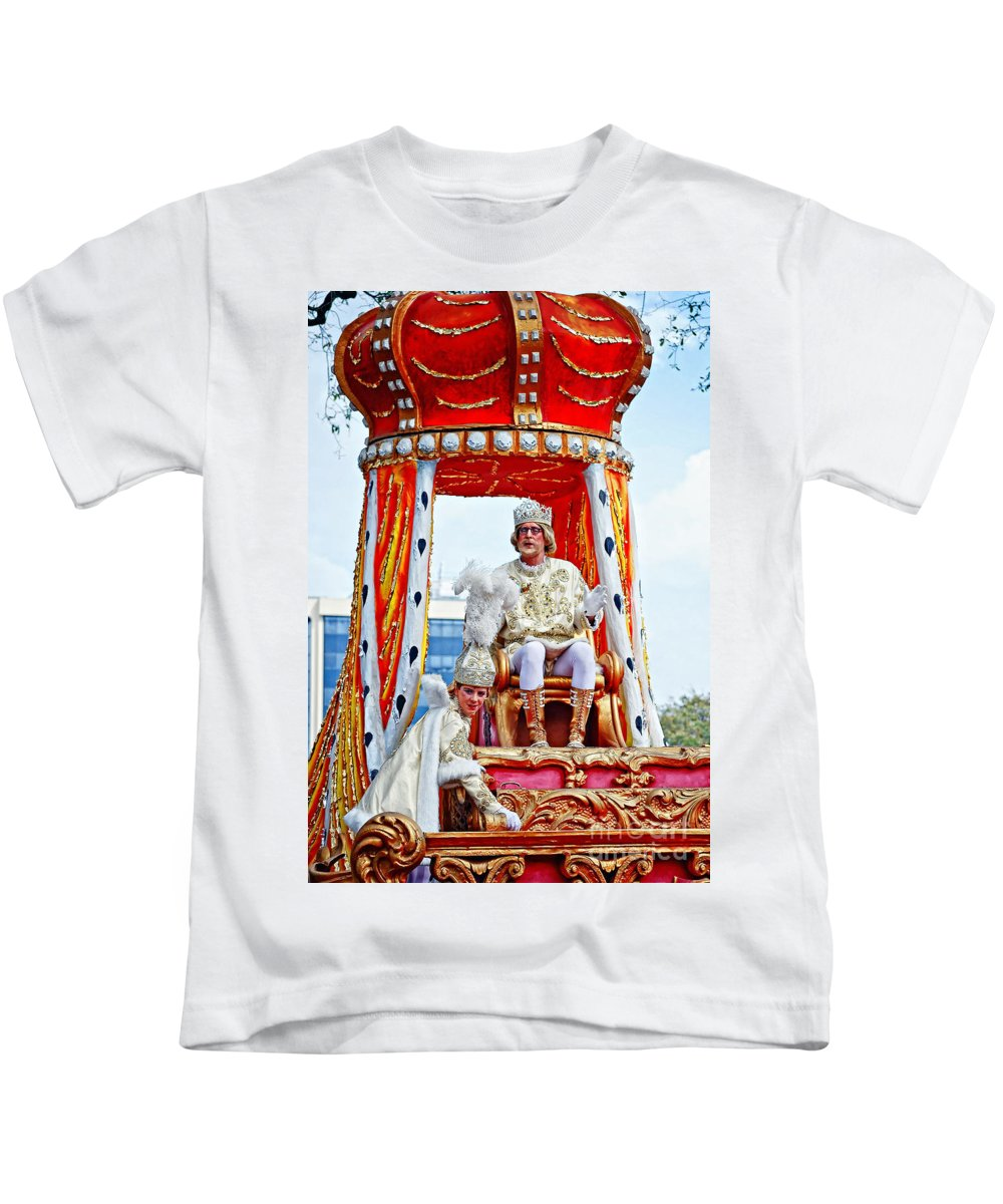 Mardi Gras Kids T-Shirt featuring the photograph King Of Rex And Page - Mardi Gras New Orleans by Kathleen K Parker