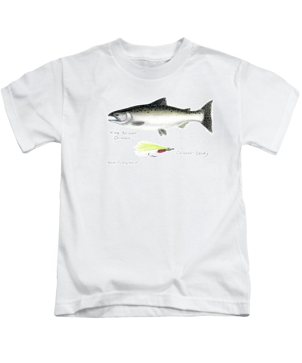 Fish Kids T-Shirt featuring the drawing King Salmon Or Chinook With Chinook Candy Fly by Daniel Lindvig