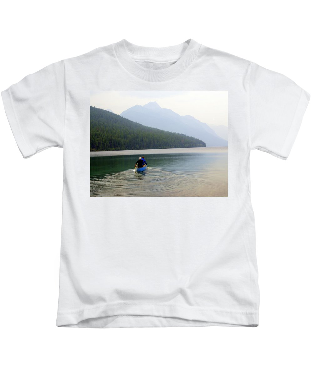 Mountains Kids T-Shirt featuring the photograph Kintla Lake Paddlers by Marty Koch