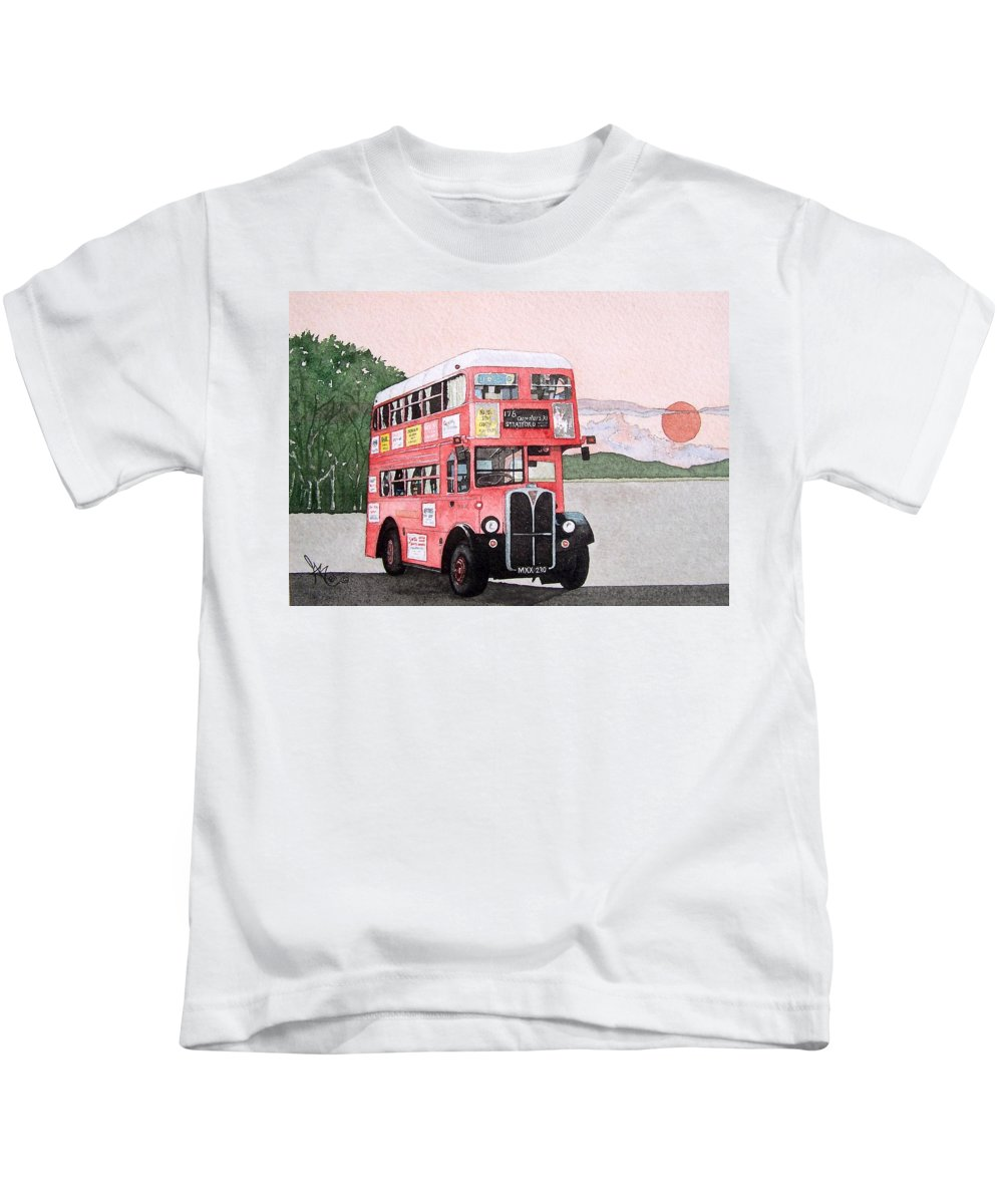 Bus Kids T-Shirt featuring the painting Kirkland Bus by Gale Cochran-Smith