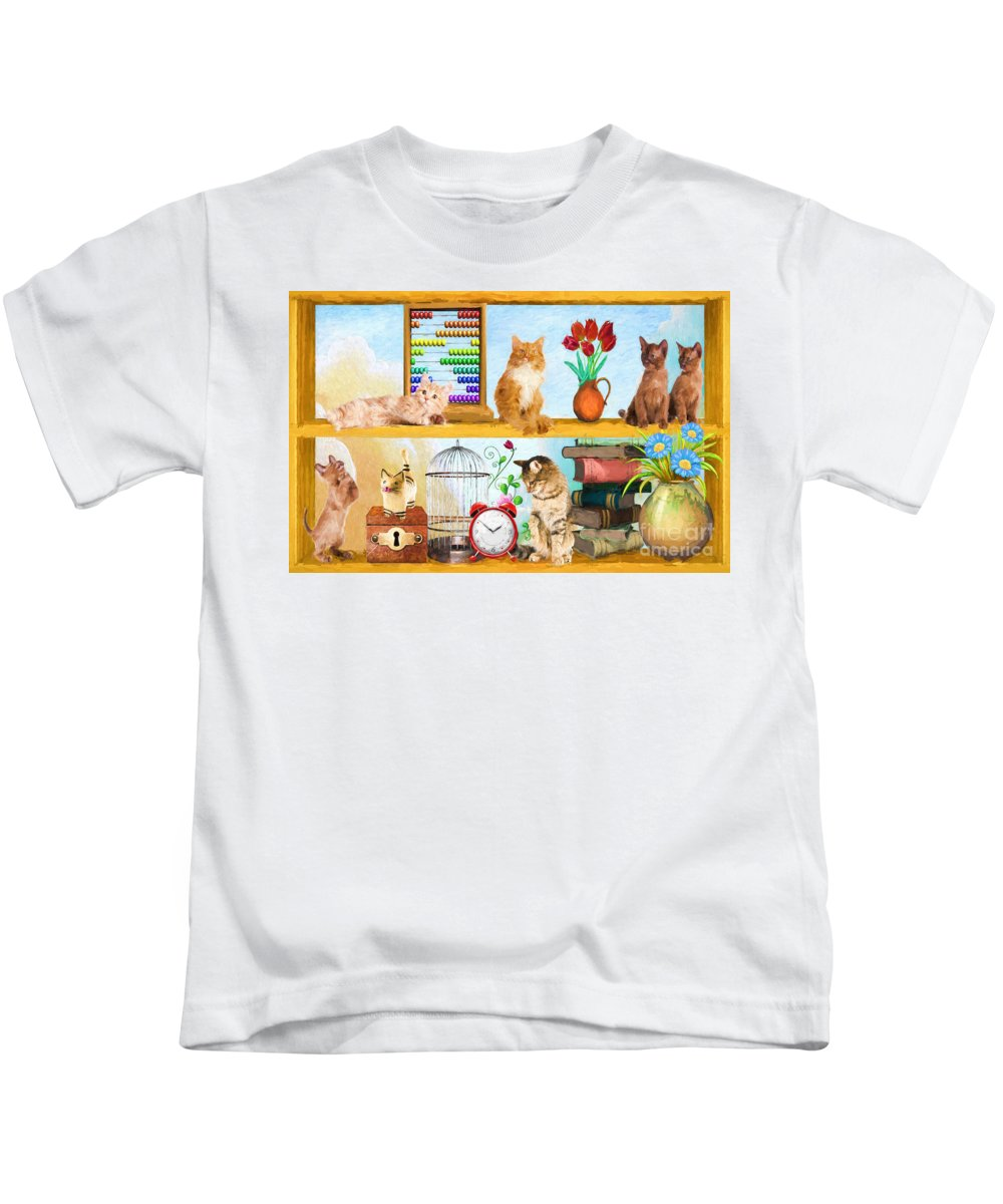 Kittens Kids T-Shirt featuring the painting Kitten Hideout by L Wright