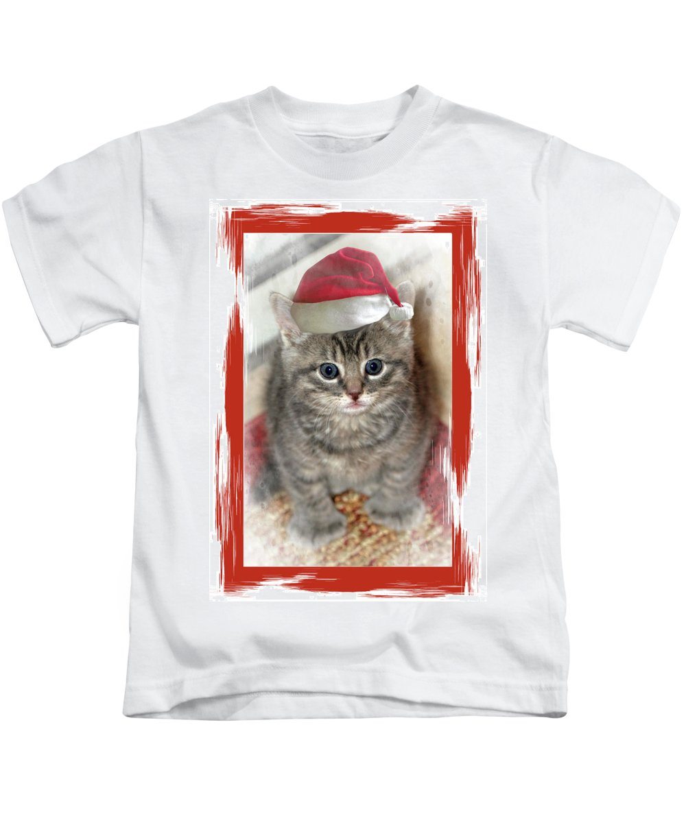 Recent Kids T-Shirt featuring the photograph Kitten Playing Santa by Geraldine Scull