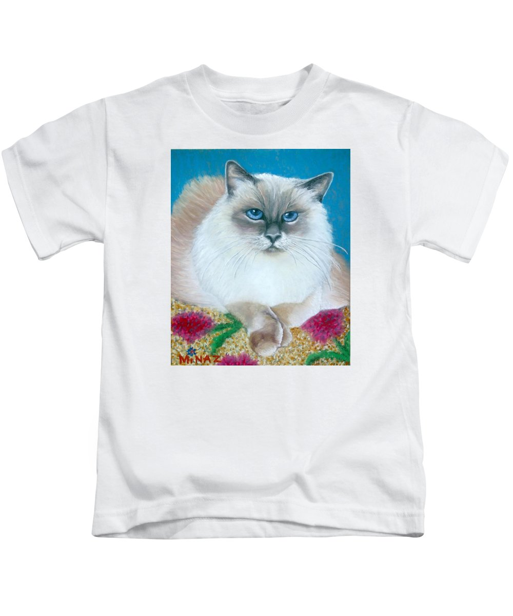Cat Kids T-Shirt featuring the painting Kitty Coiffure by Minaz Jantz
