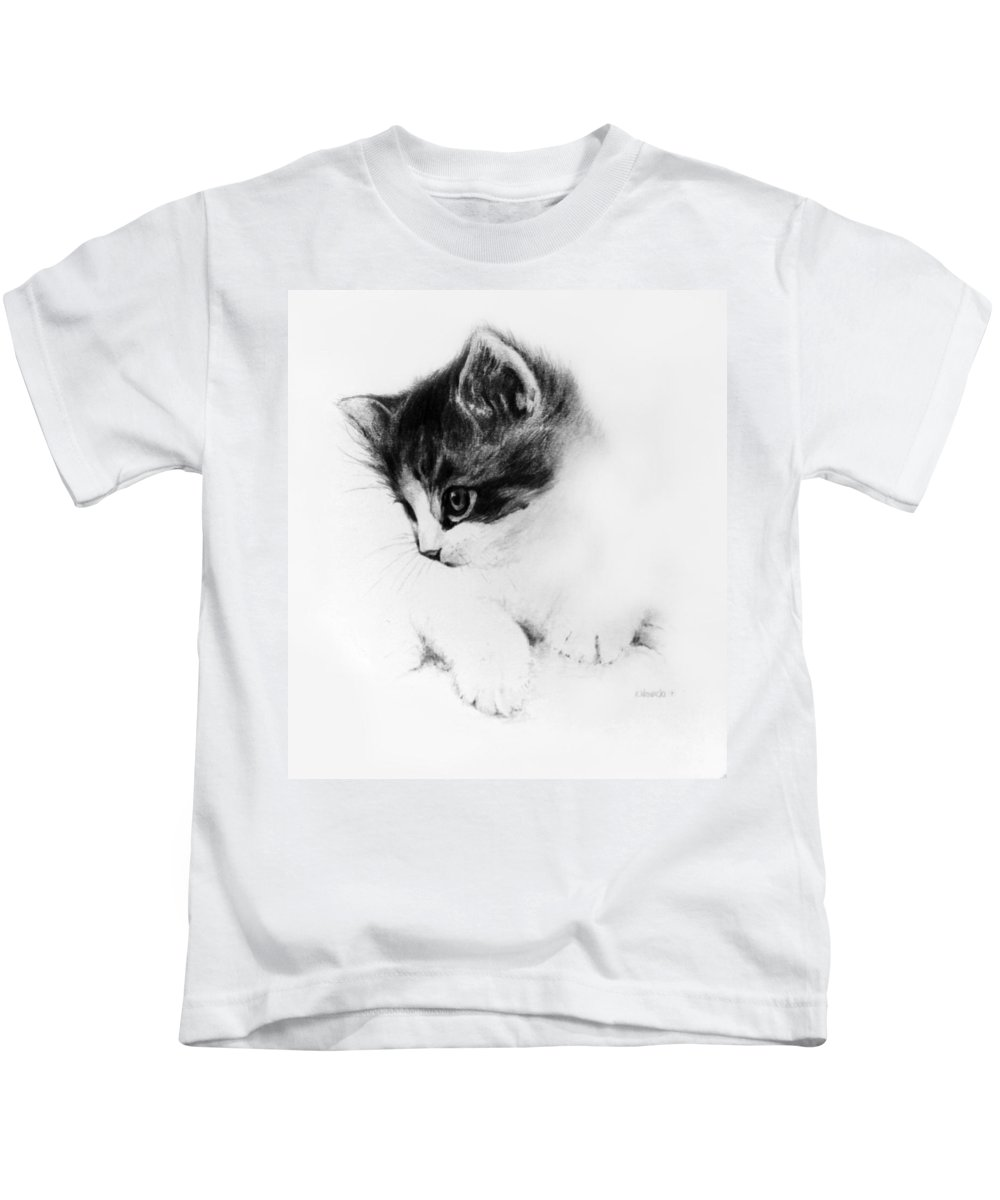 Kitten Kids T-Shirt featuring the drawing Kitty by Rachel Christine Nowicki