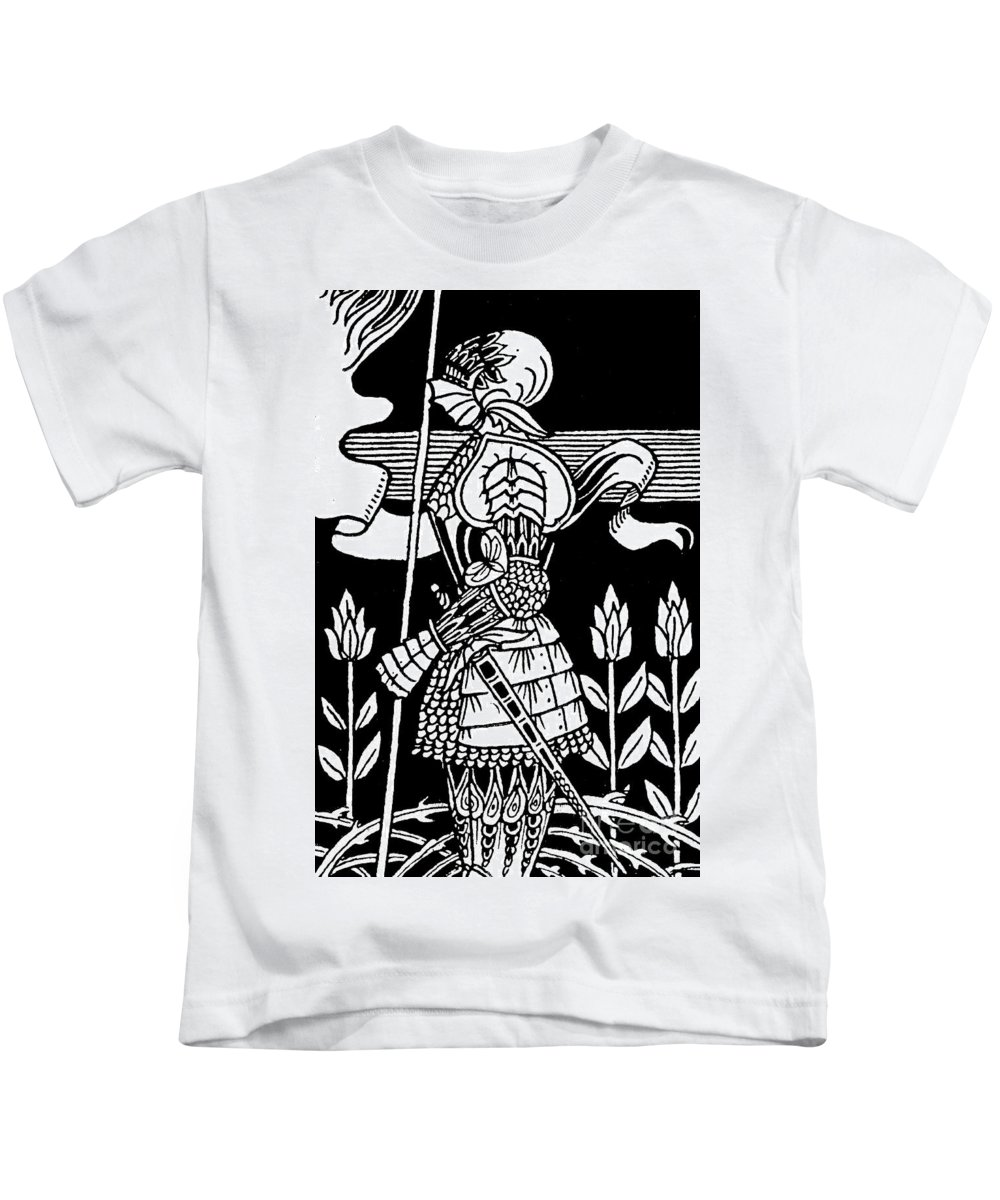 Aubrey Beardsley Kids T-Shirt featuring the drawing Knight Of Arthur, Preparing To Go Into Battle by Aubrey Beardsley
