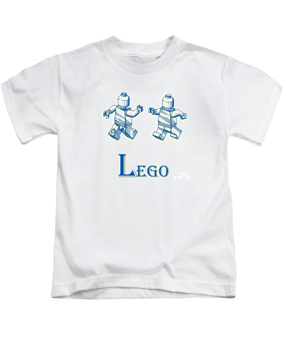 Patent Kids T-Shirt featuring the digital art L Is For Lego by Edward Fielding