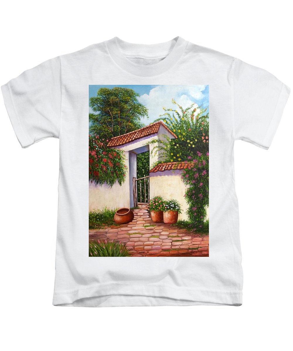 Colombia Kids T-Shirt featuring the painting La Finca by Stella Romero
