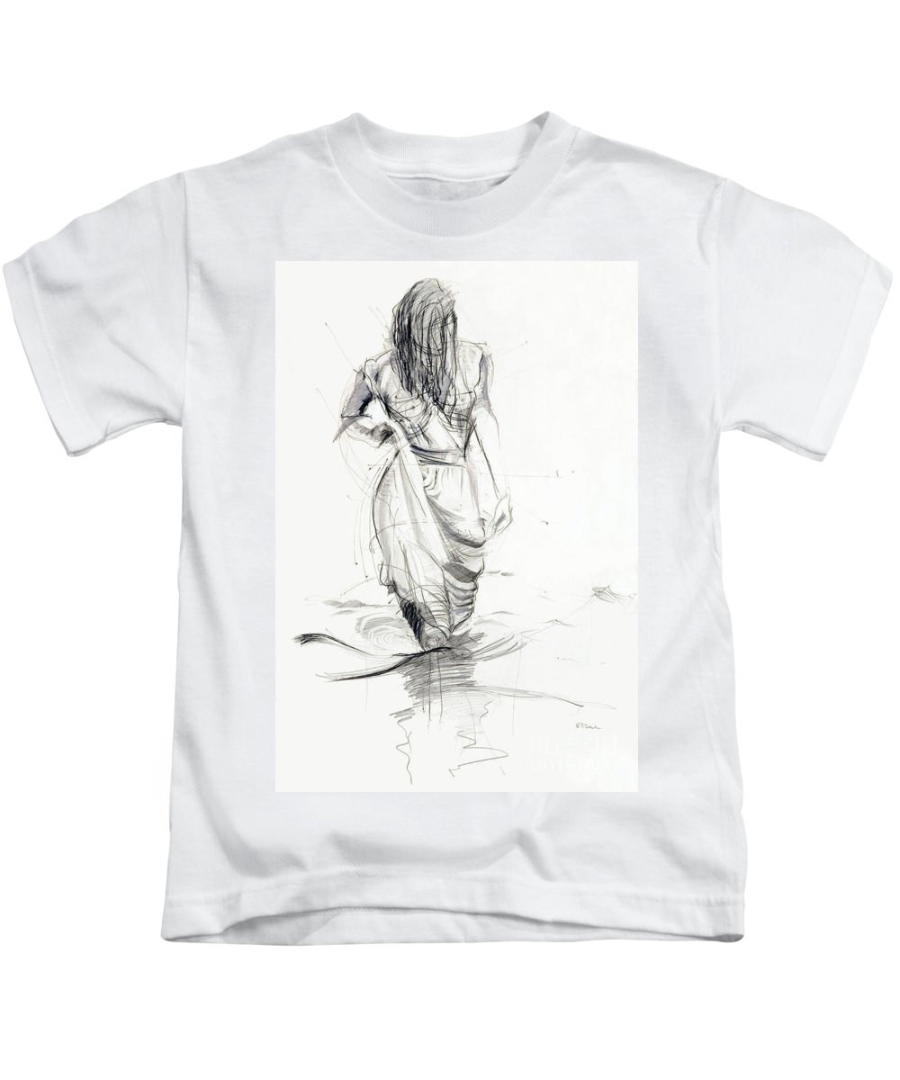 Woman Kids T-Shirt featuring the drawing Lady In The Waters by Kerryn Madsen-Pietsch