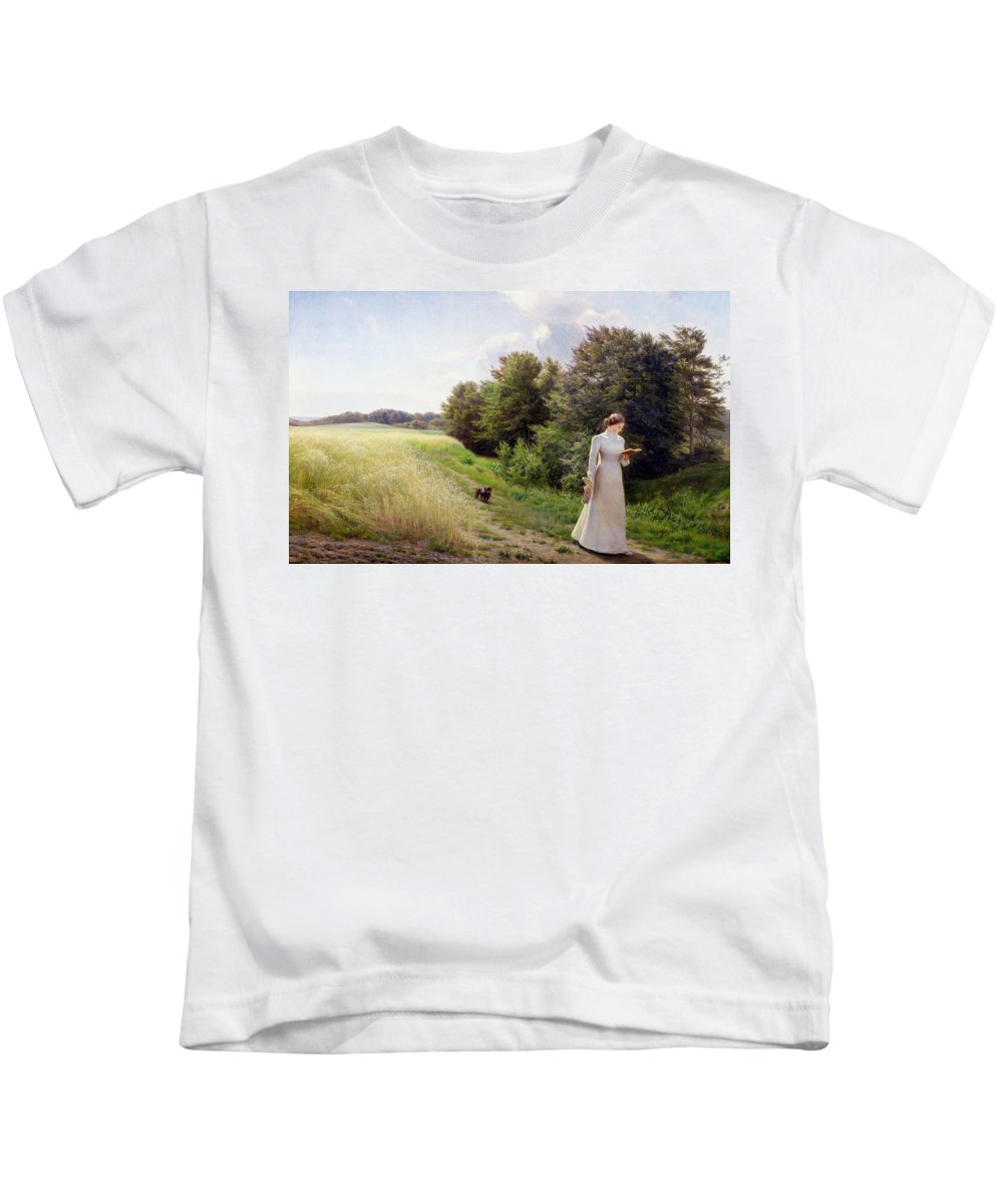 Lady Kids T-Shirt featuring the painting Lady In White Reading by Emilie Caroline Mundt