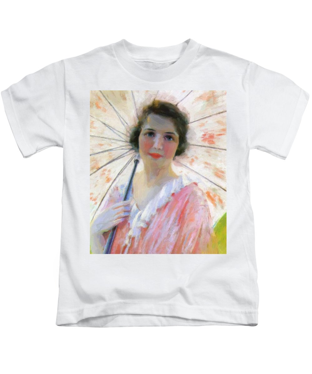 Lady Kids T-Shirt featuring the painting Lady With A Parasol 1921 by Reid Robert Lewis