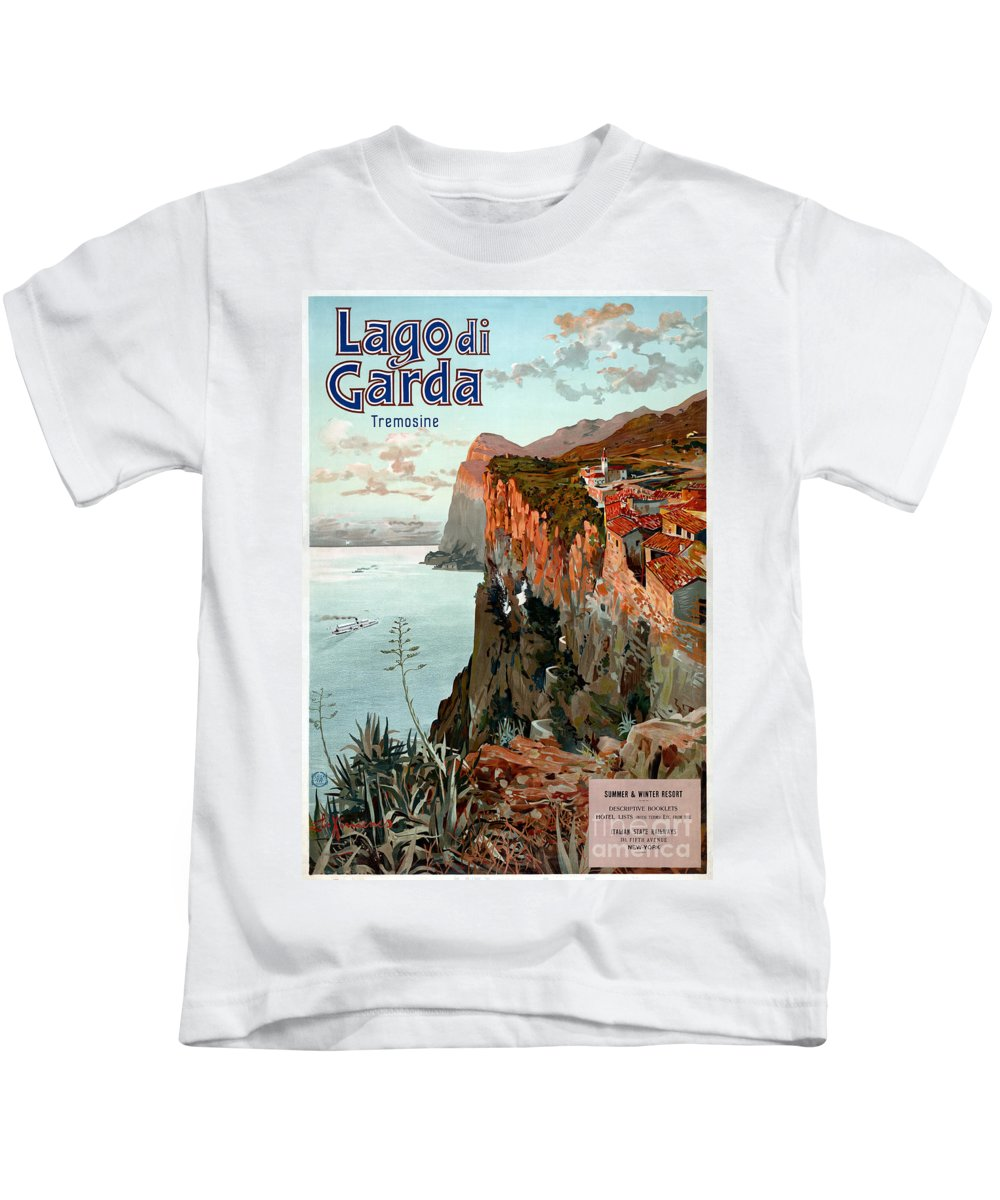 Lake Garda Kids T-Shirt featuring the painting Lago Di Garda Lake Garda Vintage Poster by Carsten Reisinger