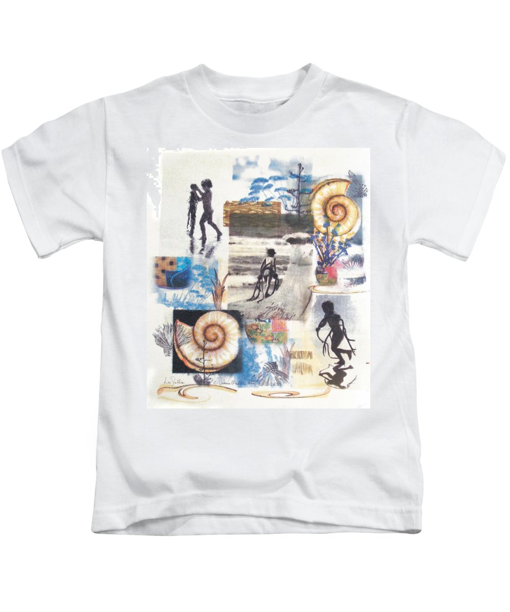 Abstract Kids T-Shirt featuring the painting Lajolla by Valerie Meotti