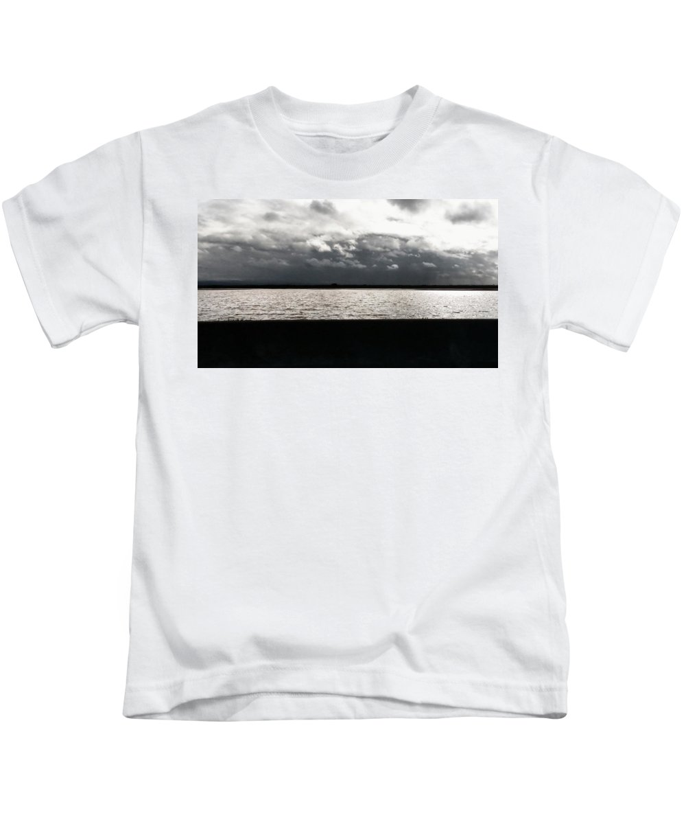 Line Movements Kids T-Shirt featuring the photograph Lake And Clouds by Peggy Leyva Conley