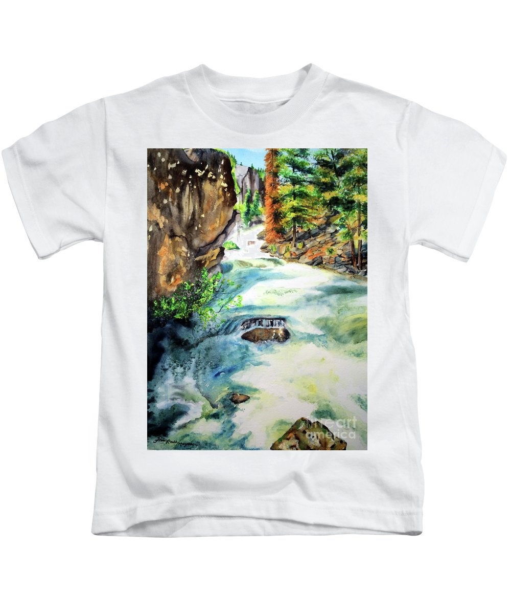 Waterfall Kids T-Shirt featuring the painting Lake Como Waterfall by Tracy Rose Moyers