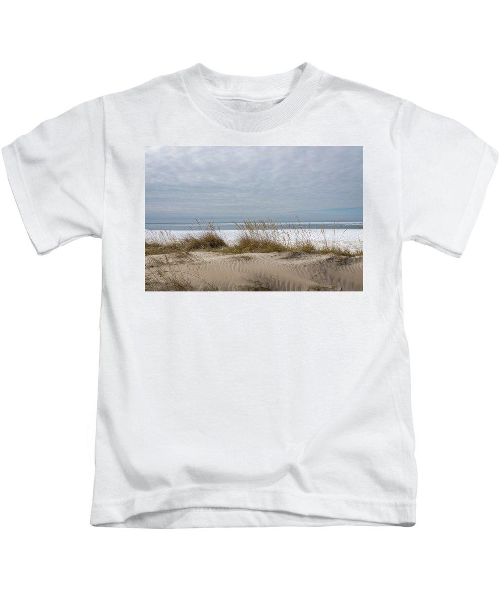 Georgia Mizuleva Kids T-Shirt featuring the photograph Lake Erie Sand Dunes Dry Grass And Ice by Georgia Mizuleva