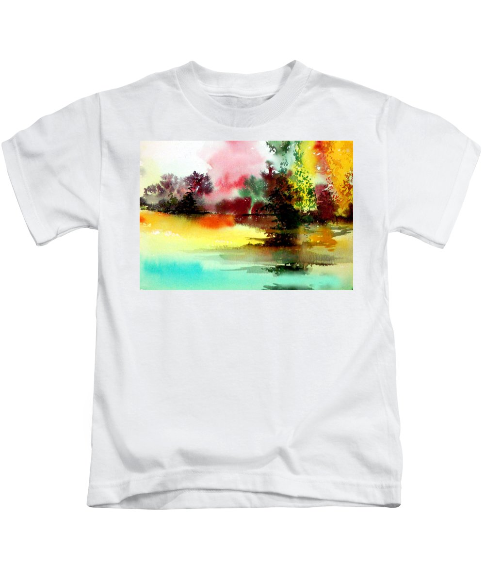 Nature Kids T-Shirt featuring the painting Lake In Colours by Anil Nene