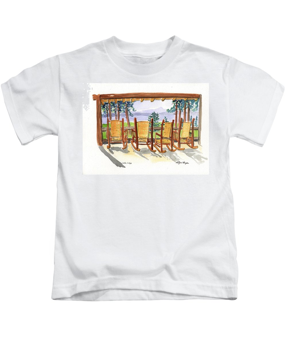 Plein Air Kids T-Shirt featuring the painting Lake Lodge by Rodger Ellingson