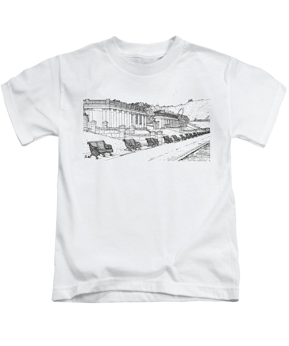 Scenic Drawing Kids T-Shirt featuring the drawing Lakeside. Barry by Frank Hamilton