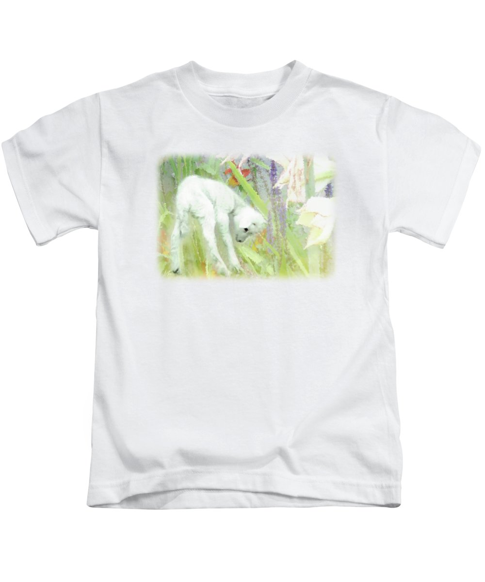 Lamb And Lilies Kids T-Shirt featuring the digital art Lamb And Lilies by Anita Faye