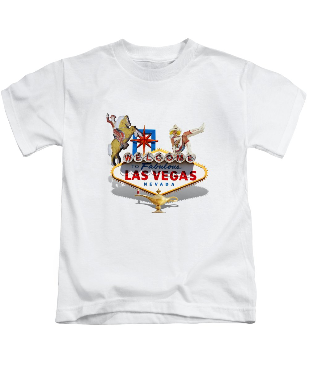 Las Vegas Kids T-Shirt featuring the mixed media Las Vegas Symbolic Sign On White by Gravityx9 Designs