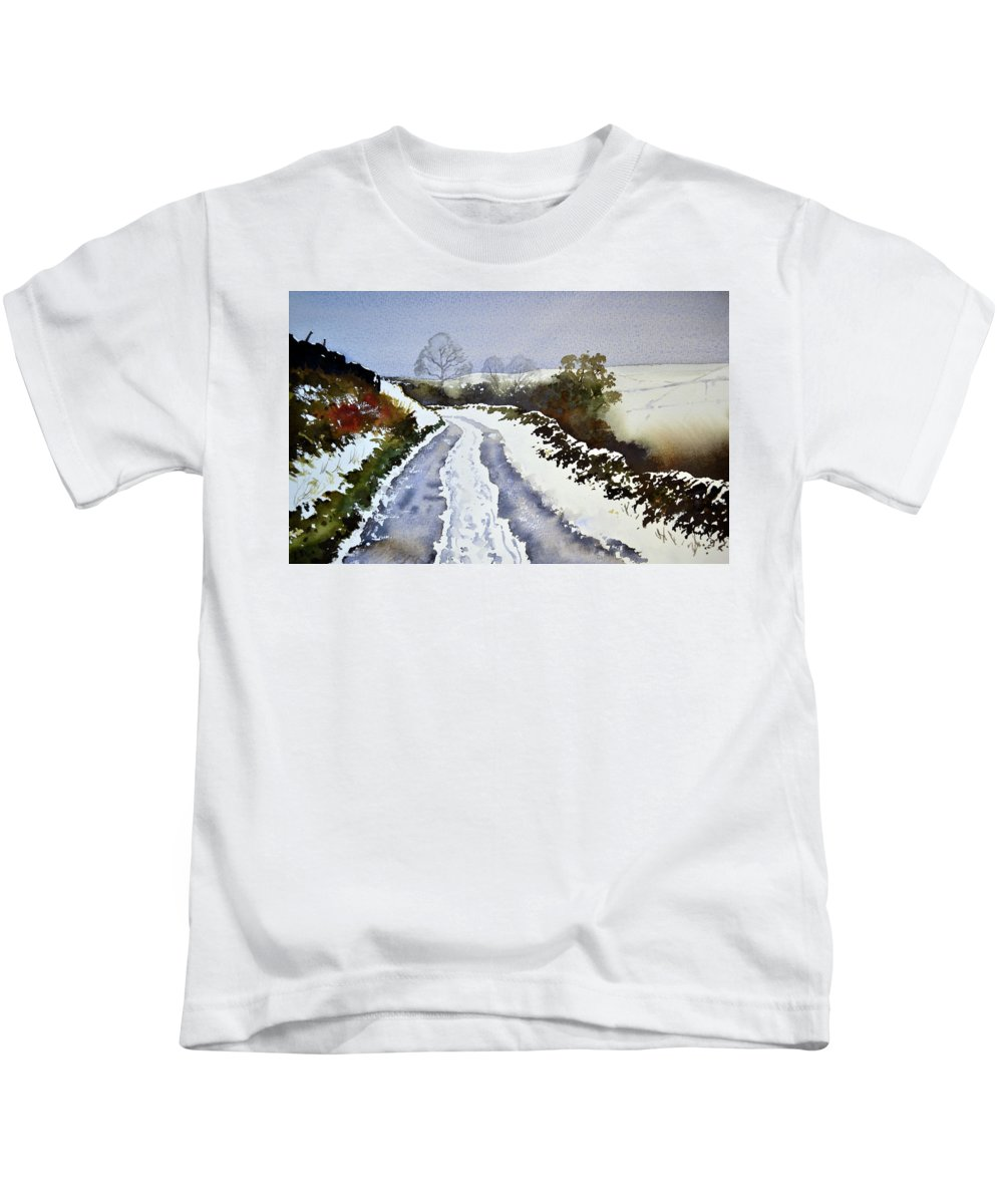 Winter Kids T-Shirt featuring the painting Last Of The Snow by Paul Dene Marlor