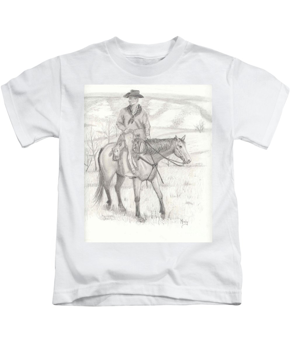 Horse Kids T-Shirt featuring the drawing Last One In by Mendy Pedersen