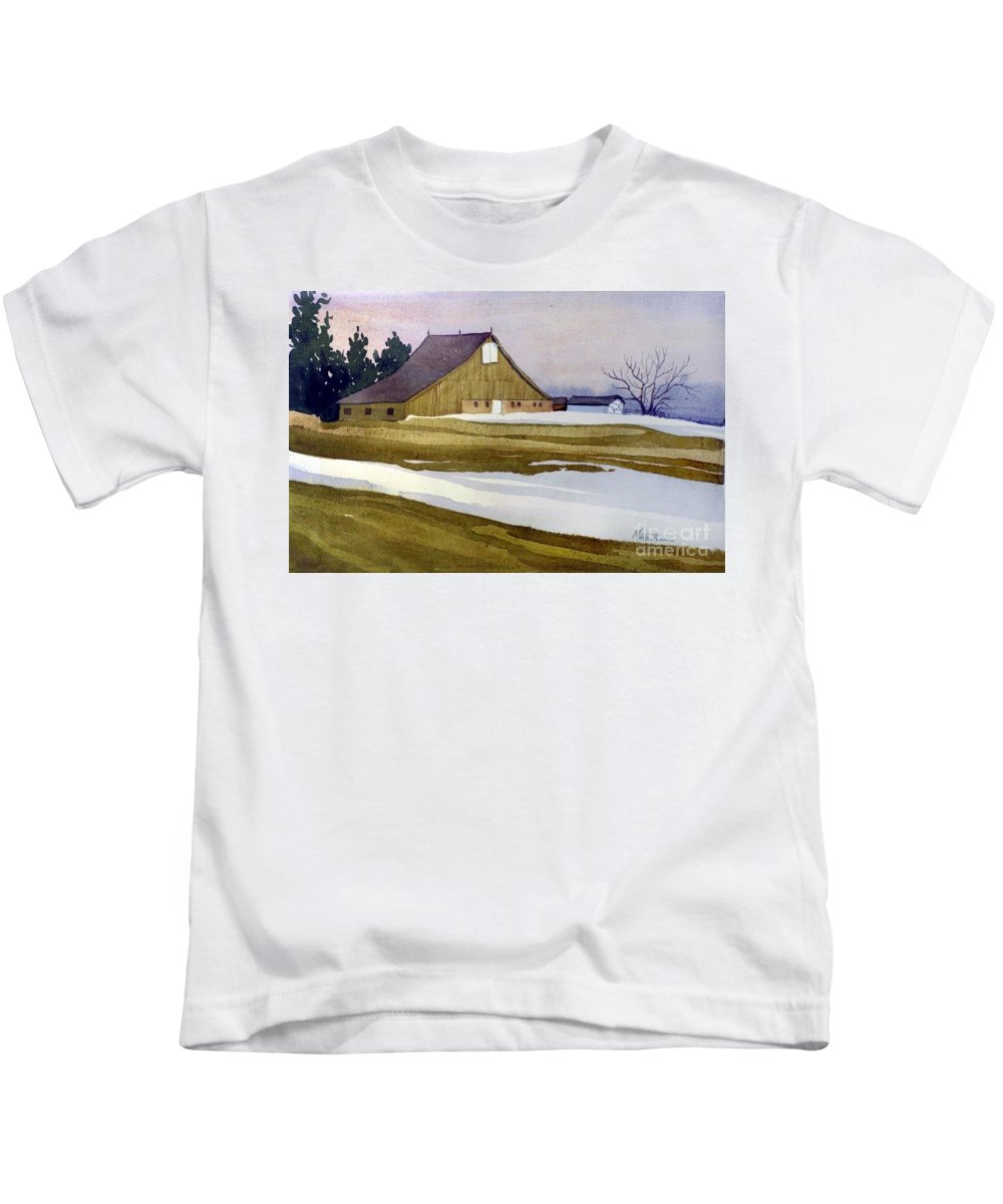 New Jersey Kids T-Shirt featuring the painting Late Winter Melt by Donald Maier
