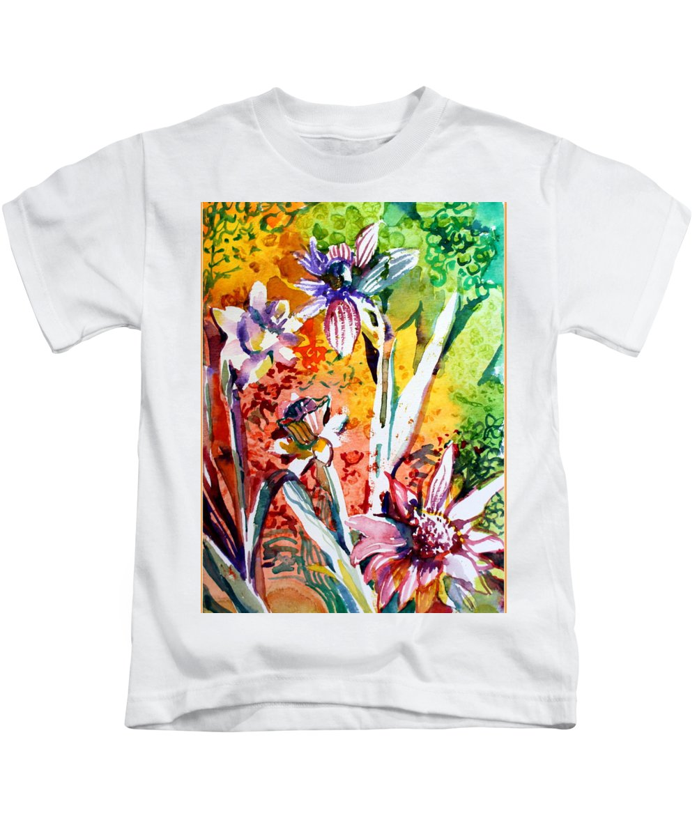 Flowers Kids T-Shirt featuring the painting Laughing Flowers by Mindy Newman