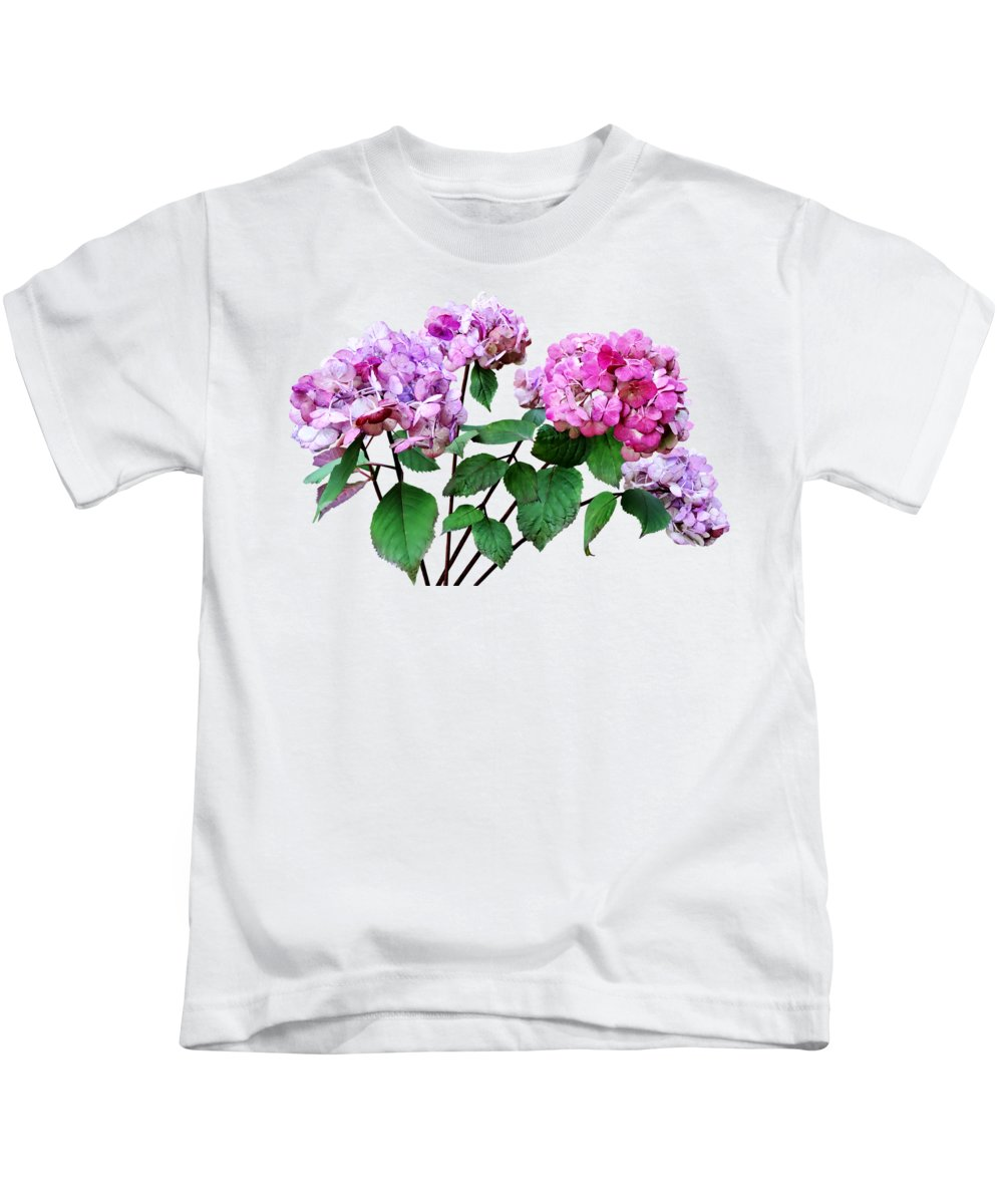 Hydrangea Kids T-Shirt featuring the photograph Lavender And Rose Hydrangeas by Susan Savad