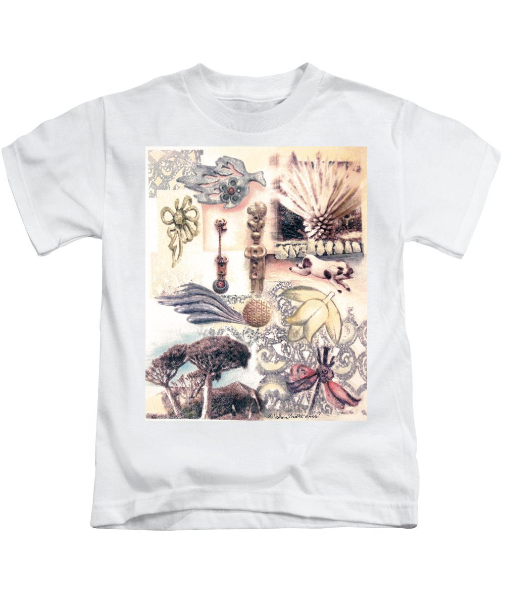 Abstract Kids T-Shirt featuring the painting Le Petite Pig Does Fly by Valerie Meotti