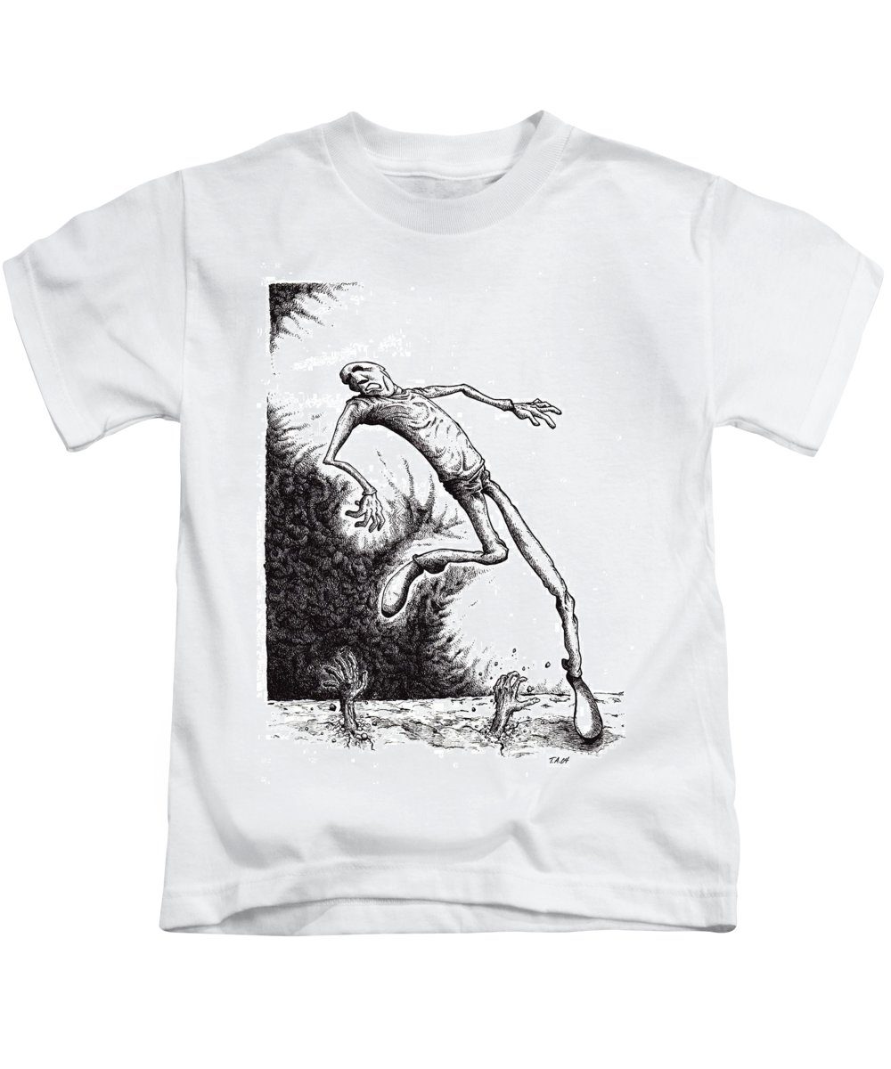Black And White Kids T-Shirt featuring the drawing Leap by Tobey Anderson