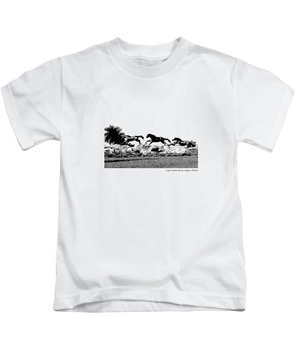 Horse Kids T-Shirt featuring the photograph Lely Horses by Laurie Paci