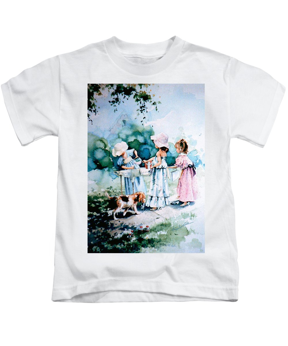 Lemonade Stand Kids T-Shirt featuring the painting Lemonade Ladies by Hanne Lore Koehler