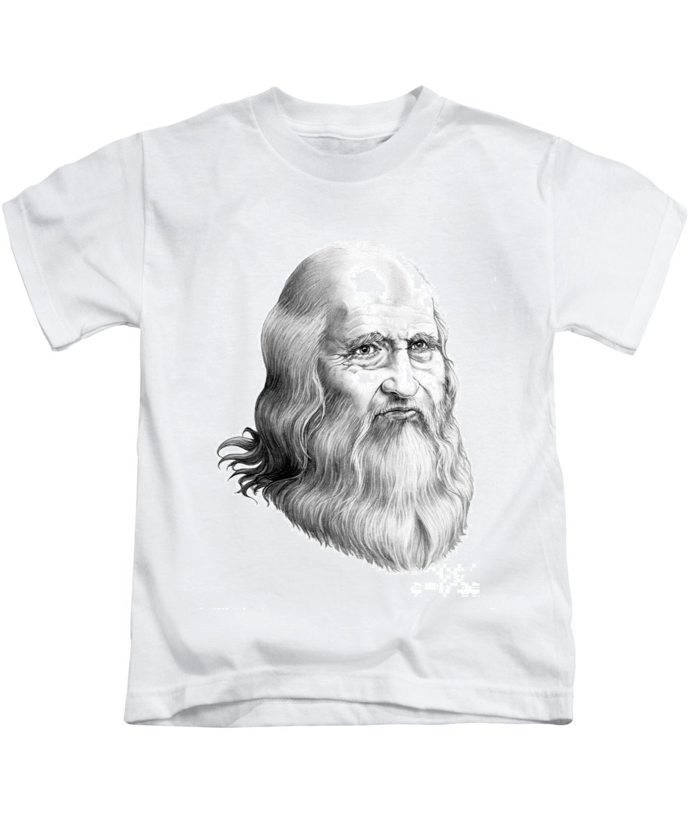 Famous Person Kids T-Shirt featuring the drawing Leonardo Da Vinci by Murphy Elliott