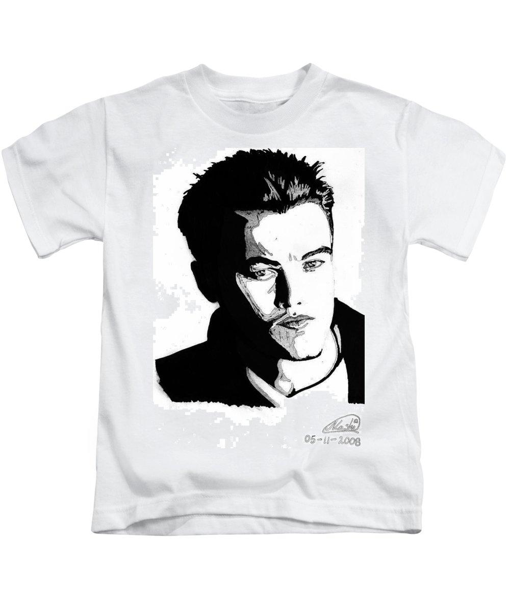 Portrait Kids T-Shirt featuring the mixed media Leonardo Dicaprio Portrait by Alban Dizdari