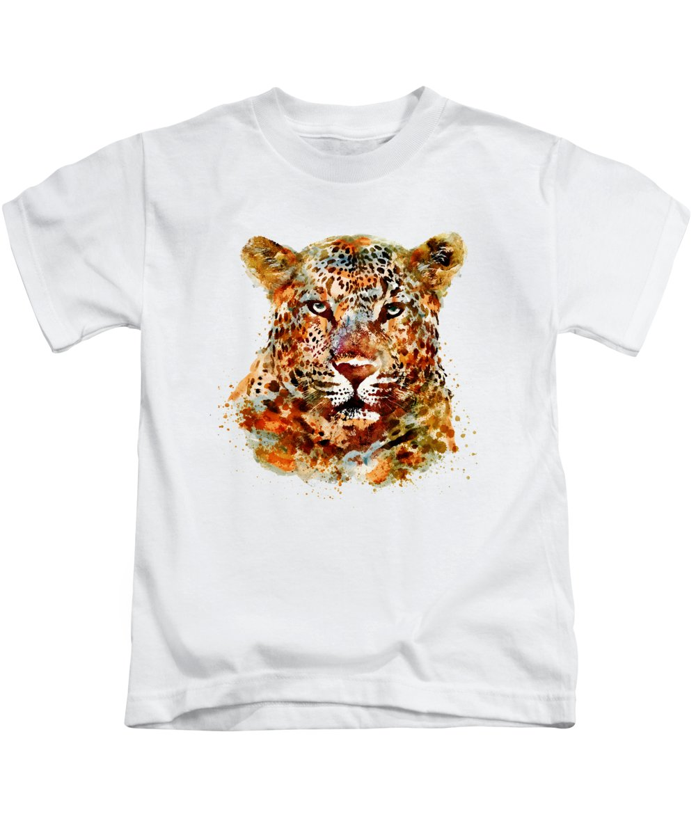 Leopard Kids T-Shirt featuring the painting Leopard Head Watercolor by Marian Voicu