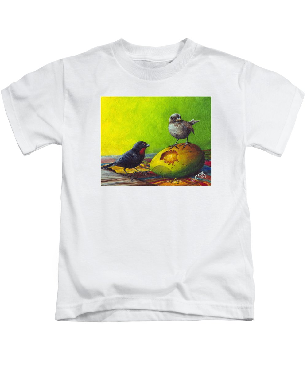 Chris Cox Kids T-Shirt featuring the painting Lesser Antillean Bullfinches And Mango by Christopher Cox